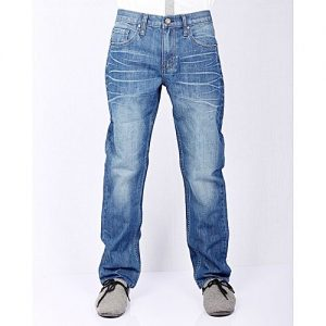 Asset Mid Blue Cotton Denim Relaxed-Fit Jeans with Whiskers and Highlighting for Men - Loose-Fit