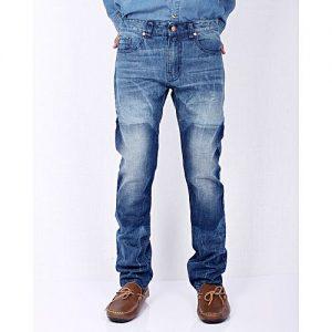 Asset Mid Blue Denim Straight-leg Jeans with Ocean Shadows for Men Slim Fit