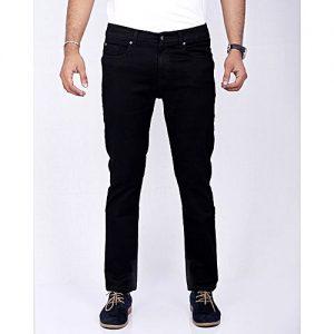 Asset Pitch Black Stretch Denim Jeans in Peach Finish Fabric for Men - Superslim-Fit