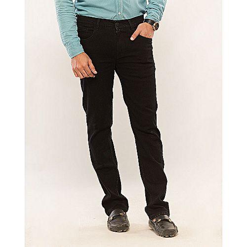 Asset Pitch Black Stretch Denim Straight-leg Jeans for Men Slim Fit