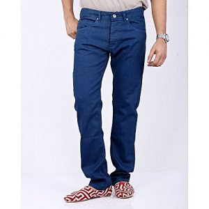 Asset Royal Blue Coated Denim Jeans in Relaxed-Fit for Men - Straight-cut