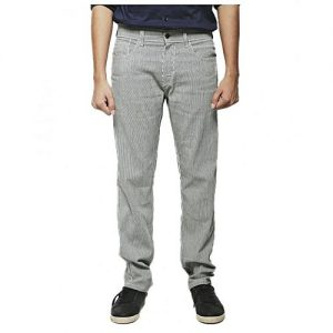 Asset White & Grey Striped Cotton Denim Jeans with Straight-leg for Men - Relaxed-Fit
