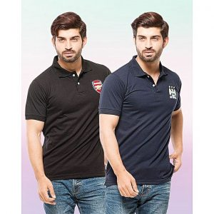 Aybeez Black And Blue Pc Cotton Pack Of 2 Polo T Shirt With Front Logo