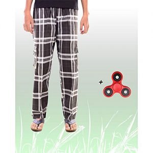 Aybeez Black Cotton Trouser for Men - With Fidget Spinner MW1902