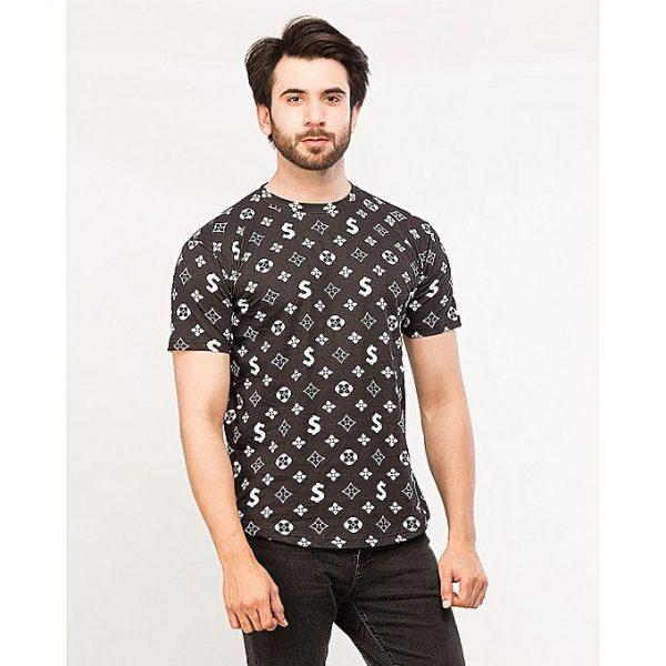 Aybeez Black Printed Round Neck T-shirt For Men