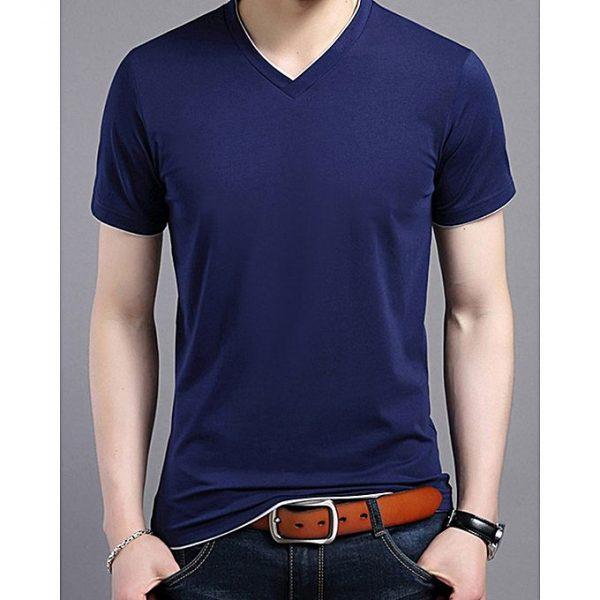 Aybeez Navy Blue Cotton V-Neck T-Shirt for Men