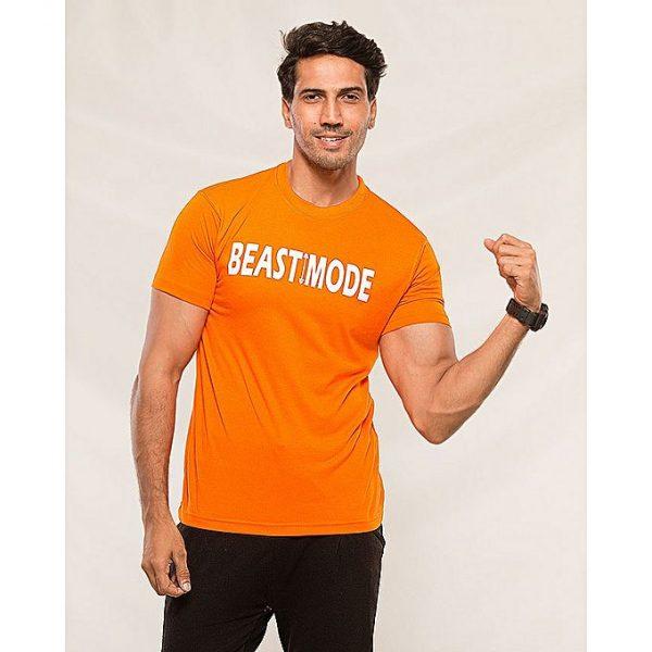 Aybeez Orange Beast Mode Printed T-shirt for men