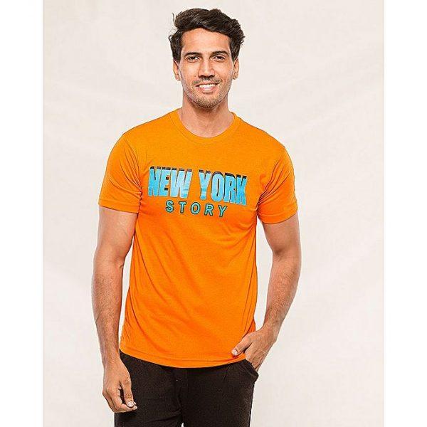 Aybeez Orange NewYork Story Printed t-shirt for men