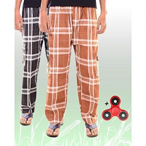 Aybeez Pack of 2 - Black & Brown Cotton Trouser for Men - With Fidget Spinner MW1926