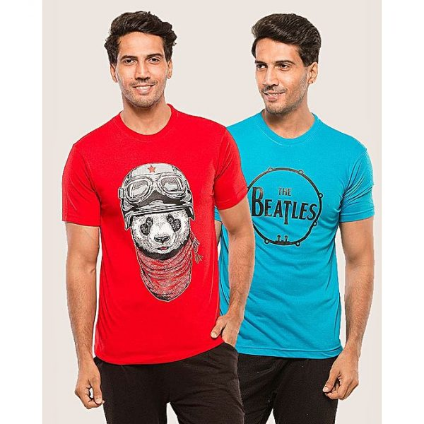 Aybeez Pack of 2 Printed t-shirt for men in Red and Sky blue