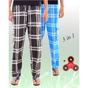 Aybeez Pack of 3 - Black & Sky Blue Cotton Trousers for Men - With Fidget Spinner MW1934