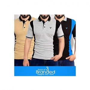 Aybeez Pack of 3 Multicolor Cotton Polo T Shirt for Men