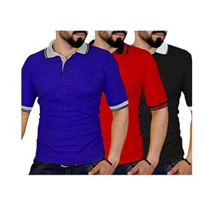 Aybeez Pack Of 3 - Multicolor Cotton Polo T-Shirts For Men