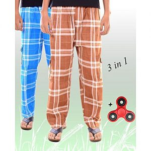 Aybeez Pack of 3 - Sky Blue & Brown Cotton Trousers for Men - With Fidget Spinner MW1933