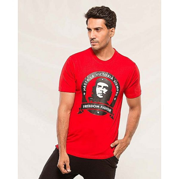 Aybeez Red Freedom Fighter printed t-shirt for men