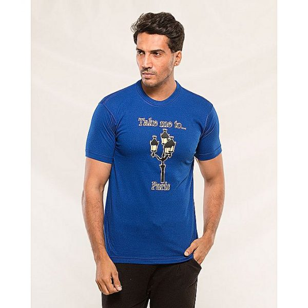Aybeez Royal Blue Take me to Paris Printed T-shirt for men