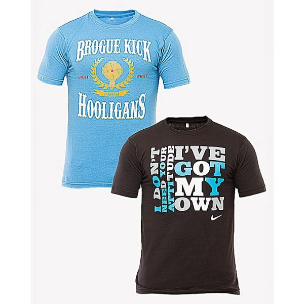 Aybeez Sky Blue And Black Cotton Pack Of 2 Printed Tshirts For Men