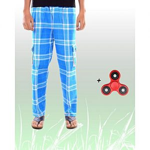 Aybeez Sky Blue Cotton Trouser for Men - With Fidget Spinner MW1931