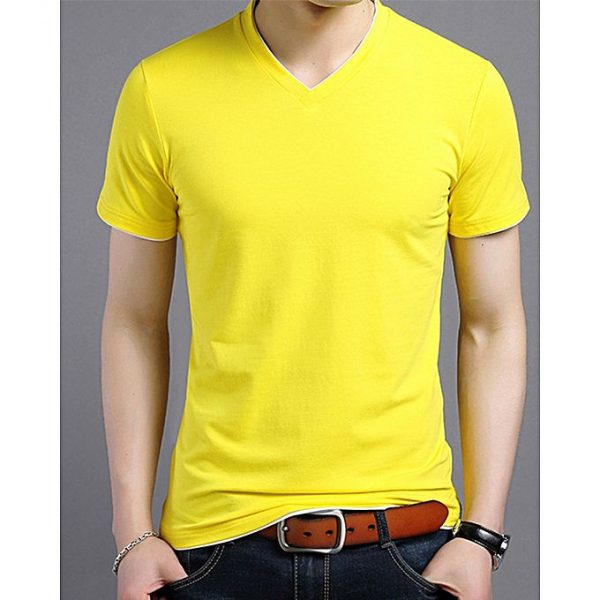 Aybeez Yellow V-Neck T-Shit For Men