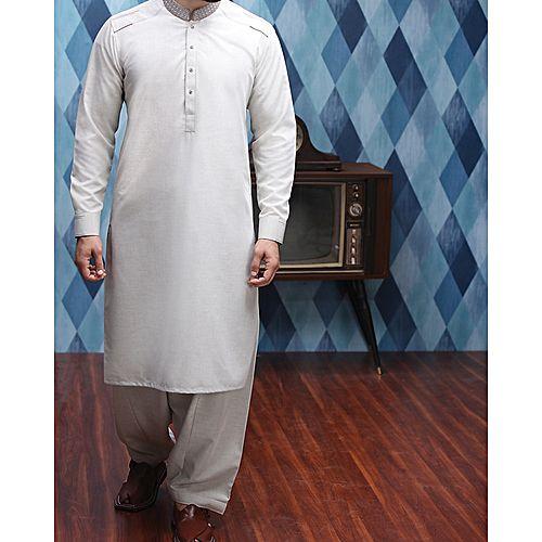 7ec6cb4c7b Junaid Jamshed Ash White p-v Men's Kameez Shalwar - Menswear.pk