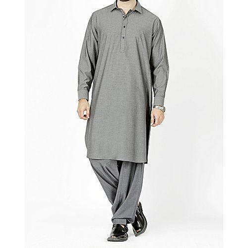 641cb384bd Junaid Jamshed Charcoal Grey Polyester & Viscose Regular Kurta Shalwar-Fit