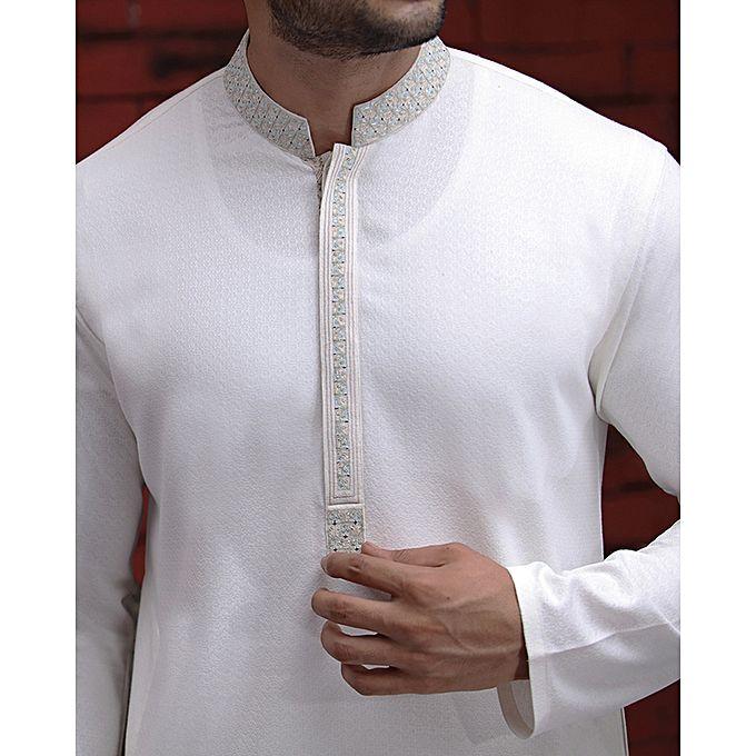 Junaid Jamshed Milky White P V Men S Kurta Menswear Pk