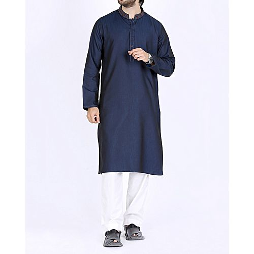 fd42909f3c Junaid Jamshed Navy Blue Polyester & Viscose Regular Fit Men's Kurta ...