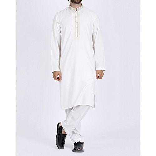 5aafc2f18c Junaid Jamshed Off-White Polyester & Viscose Regular Fit Men's Kurta ...