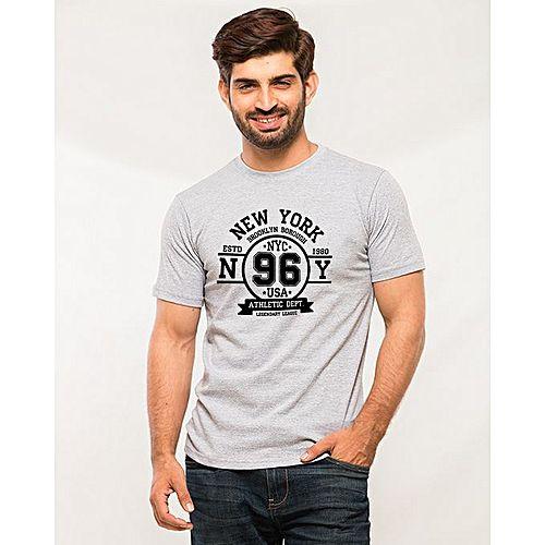 67da2f78 Product Description. QK Styles New York Brooklyn Printed T-Shirt For Men - Heather  Grey MW1461