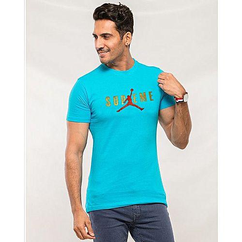 83fd160217cb QK Styles Turquoise Cotton Supreme Printed T-Shirt For Men - Menswear.pk