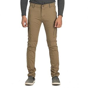 River Rock Brown Denim & Cotton Pants For Men - 786-13 MW1730
