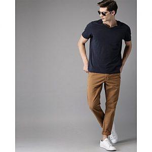 SA Bazaar Men Brown Slim Fit Solid Chinos MW1880