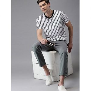 SA Bazaar Men Grey Slim Fit Solid Chinos MW1876