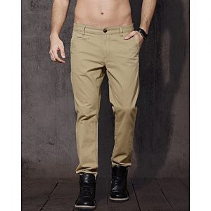 SA Bazaar Men Khaki Regular Fit Solid Chinos MW1877