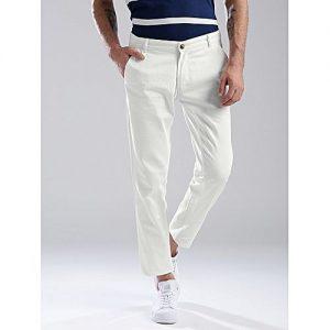 SA Bazaar Men White Slim Fit Solid Chinos MW1881