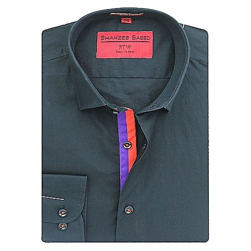 Shahzeb Saeed Black Cotton Shirt Regular-fit SS079