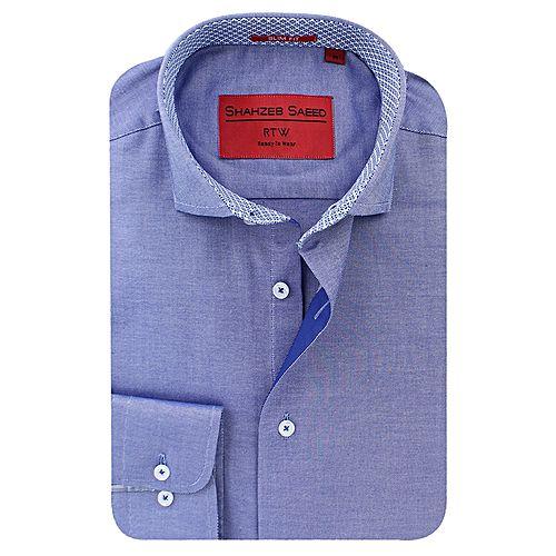 Shahzeb Saeed Blue Cotton Shirt for Men SS011