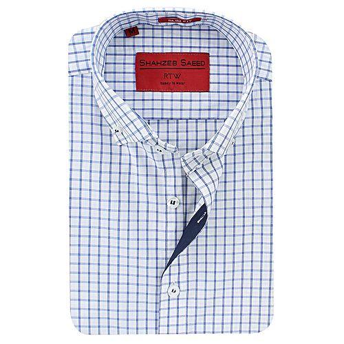 Shahzeb Saeed Blue & White Cotton Shirt for Men SS021