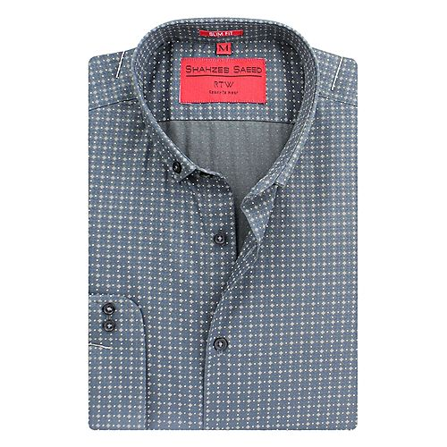 Shahzeb Saeed Dark Grey Cotton Regular Fit Shirt for Men SS030