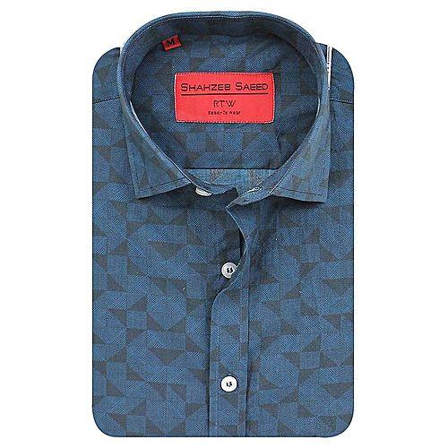 Shahzeb Saeed Green & Black Cotton Shirt for Men - Slim Fit SS068