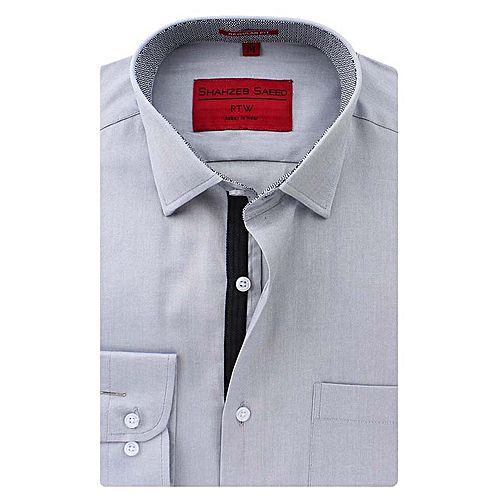 Shahzeb Saeed Grey Cotton Shirt for Men - Slim Fit SS052