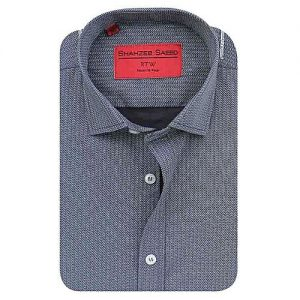 Shahzeb Saeed Grey Cotton Shirt for Men - Slim Fit SS059