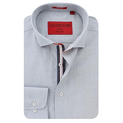 Shahzeb Saeed Grey Cotton Shirt for Men SS049