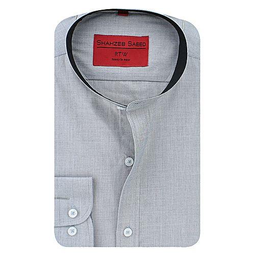 Shahzeb Saeed Grey Cotton Shirt for Men SS080
