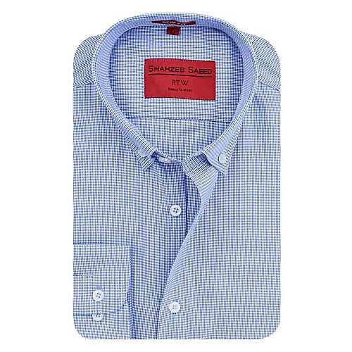 Shahzeb Saeed Light Blue Cotton Shirt for Men SS057