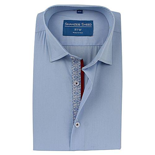 Shahzeb Saeed Light Blue Cotton Slim Fit Formal Shirt for Men SS004