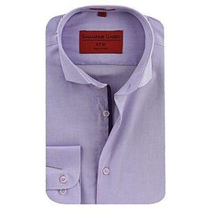 Shahzeb Saeed Light Purple Cotton Casual Shirt - Slim Fit SS044