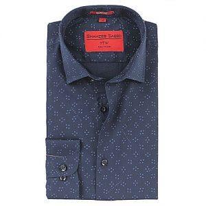 Shahzeb Saeed Navy Blue Cotton Slim Fit Formal Shirt for Men - RTW-667 SS016