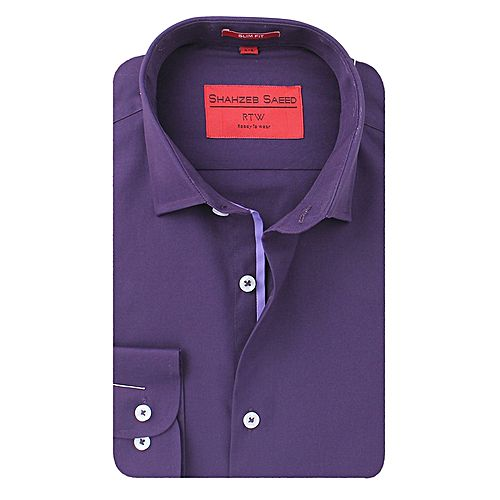 Shahzeb Saeed Purple Cotton Semi Formal Shirt for Men SS067
