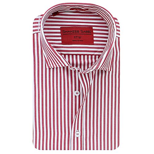 Shahzeb Saeed Red & White Cotton Shirt for Men SS046